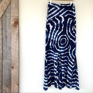 Fun tie-dye print maxi skirt in jersey knit
